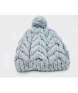 Woman's Bulky Cabled Hat, fisherman knit style, grey merino wool, warm w... - $35.00