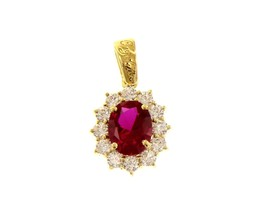 18K YELLOW GOLD FLOWER PENDANT BIG OVAL RED 9x7mm CRYSTAL CUBIC ZIRCONIA FRAME image 1