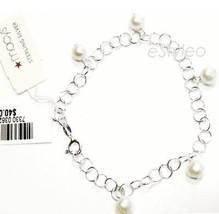 Macys Sterling Silver Freshwater Pearl Charm Bracelet Made in Italy $40 - $22.50