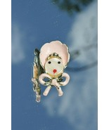 Vintage Pink & Mother pear Baby Bonnet Bow tie Brooch Pin 1.25'' inches - $4.95