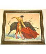 Matador Bull Bullfight Oil Painting vintage 60's signed Artist Framed - $129.00