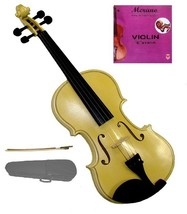 Crystalcello 1/10 Size Gold Violin with Case, Bow, Rosin+Extra E String, Rosin - $39.00