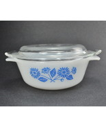 Fire King Anchor Hocking 12 Oz Covered Casserole White Blue Flowers 472 - $7.00