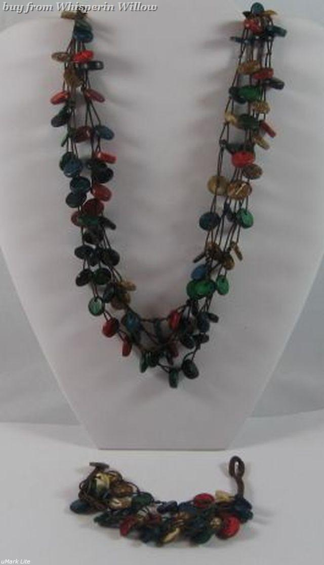 Primary image for Colored Shell Necklace and Bracelet Set