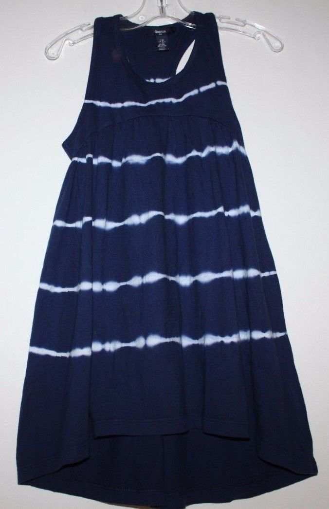 Gap Kids NWT Girl's Navy Blue Tie Dye Racer Back Maxi Dress Hi Lo Hem