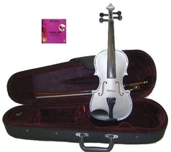 1/16 Size Silver Violin with Case, Bow, Rosin+Extra E String, Rosin - $37.00