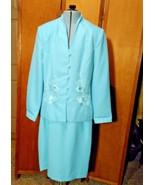 Henry-Lee Skirt Suit Size 8 Light Blue, Floral Appliqué,  - $12.00