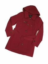 London Fog Chili Red  trench rain dress Coat w rem hood women's size Lar... - $109.35