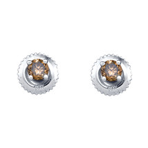 10k White Gold Round Brown Color Enhanced Diamond Solitaire Earrings 1/4 Ctw - $125.00