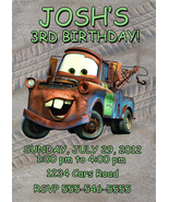 Personalized Cars Tow Mater Birthday Invitation Digital File, You Print - $8.00