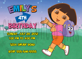 Personalized Dora the Explorer Birthday Invitation Digital File, You Print - $8.00