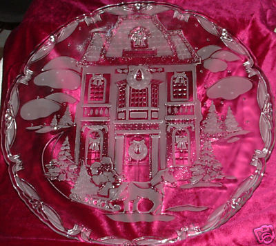 Christmas Glass Platter--Frosted Scene on Clear Background