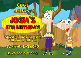 Personalized Phineas and Ferb Birthday Invitation Digital File, You Print - $8.00