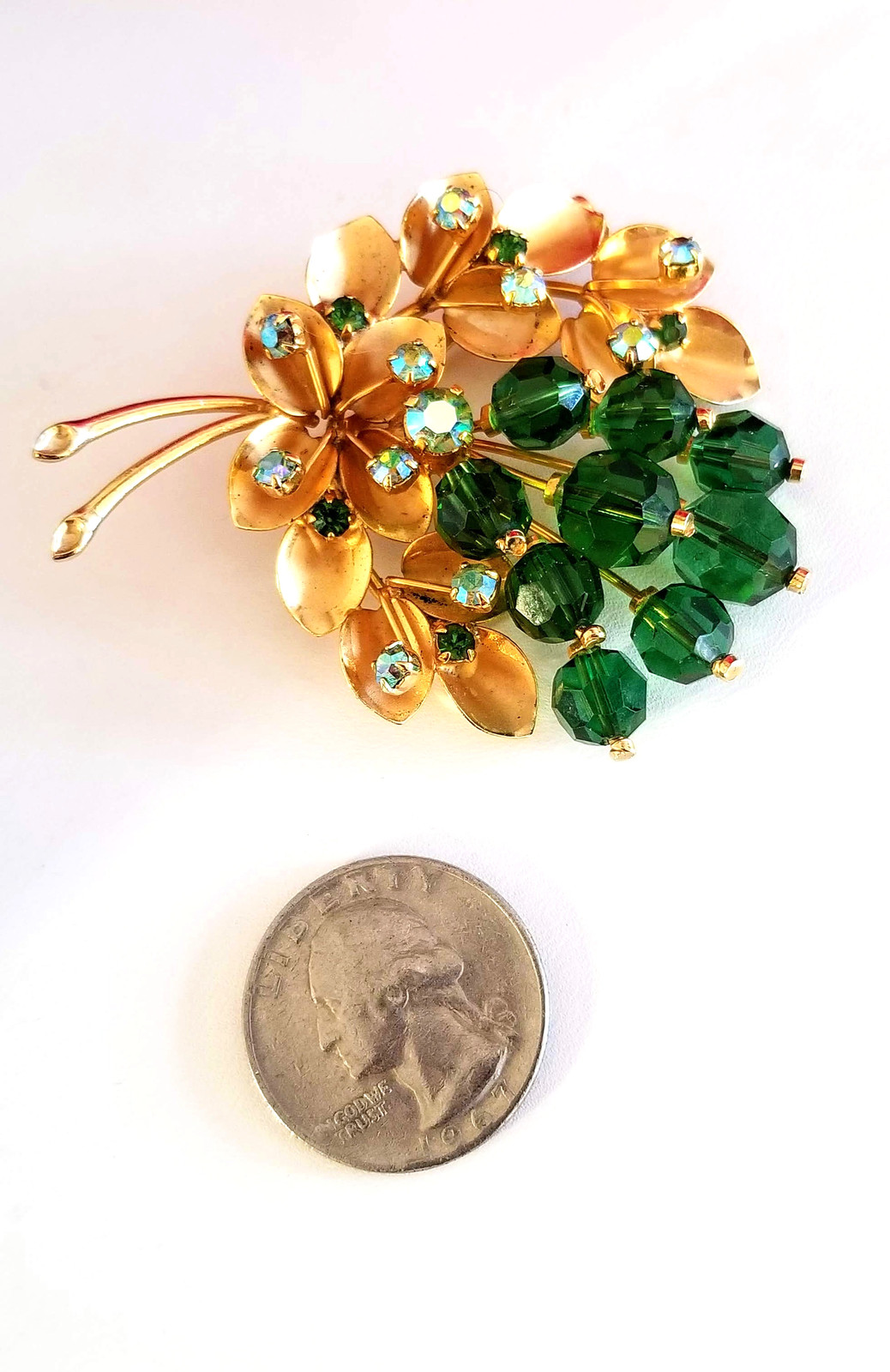 Vintage Green Faceted Crystal and AB Rhinestone Brooch Pin Signed Austria