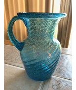 Pilgrim or Jeanette (?) Depression Glass Blue Swirl Handled Creamer Vase... - $19.99