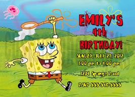 Personalized Spongebob Squarepants Birthday Invitation Digital File, You... - $8.00