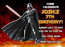 Personalized Star Wars Darth Vader Birthday Invitation Digital File, You... - $8.00