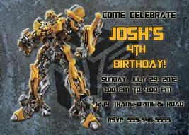 Personalized Transformers Bumblebee Birthday Invitation Digital File, Yo... - $8.00