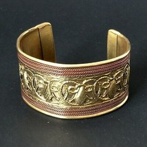 Vintage Brass Copper Cuff Bracelet Wide Handmade Multi Metal Etched Ethnic  - $22.68