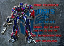 Personalized Transformers Optimus Prime Birthday Invitation Digital File - $8.00