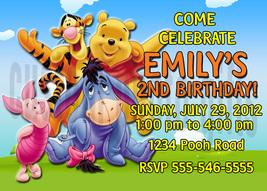 Personalized Winnie the Pooh Birthday Invitation Digital File, You Print - $8.00