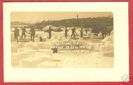 Mullett Lake Michigan Mi Train Cars Ice Men 1912 Azo rppc - $99.99