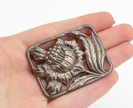 DANECRAFT 925 Silver - Vintage Dark Tone Square Flower Brooch Pin - BP5239 - $73.03