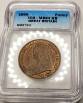 1900 Great Britain 1 Penny World Coin ICG MS64RB Certified - Queen Victoria - $149.99