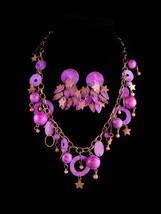 Vintage Hippie moon stars necklace and earrings - purple distressed meta... - €147,05 EUR