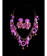 Vintage Hippie moon stars necklace and earrings - purple distressed meta... - ₹12,868.87 INR