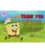 Personalized Spongebob Squarepants Birthday Thank You Card Digital File - $8.00