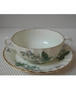 VALENCIA Royal Worcester FOOTED CREAM SOUP BOWL & SAUCER China England G... - $15.51