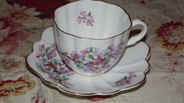 VINTAGE CROWNFORD ENGLAND FINE BONE CHINA TEA CUP SAUCER FLORAL DESIGN G... - $16.82