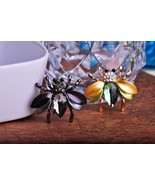 Classic Crystal Green/Black Dull Finish Gold Plated Beetle Shape Brooch - $18.73