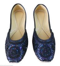 Women Shoes Jutti Indian Handmade Oxfords Bride Black Leather Mojari US 7  - £20.21 GBP
