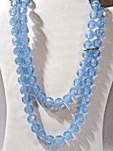 MEDIUM BLUE FAUX CRYSTAL POP BEADS DOUBLE STRAND NECKLACE PLASTIC MID CE... - $27.00