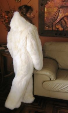 Women's white hooded Overall made of Suri alpaca fur, in all Sizes