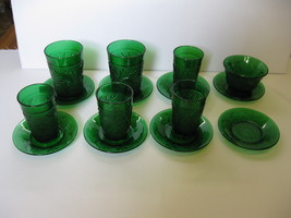 Hocking Glass Forest Green Sandwich Juice Glass Custard Cup Liners 15 pi... - $49.00