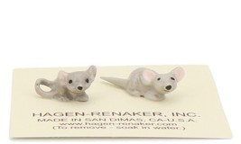 Hagen Renaker Miniature Mouse Baby Curled and Straight Tail Ceramic Figurine Set