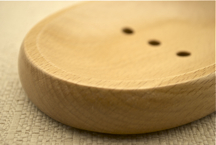 SOLID OVAL WOODEN SOAP DISH SAVER Natural Wood Beech Wood