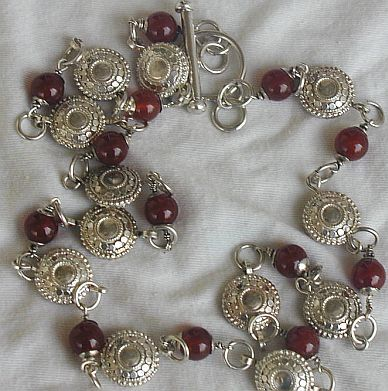 Maskit neclace with red agate stones