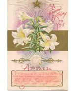 A Happy April Birthday Greetings Vintage Post Card - $3.00