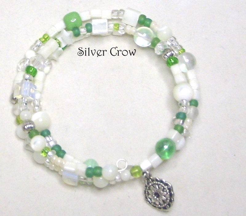 Mother of Pearl & Green Glass Memory Wire Wrap Bracelet  Medium