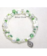 Mother of Pearl & Green Glass Memory Wire Wrap Bracelet  Medium - $11.99