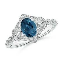 1.09ct Oval London Blue Topaz Trillium Floral Shank Cocktail Ring in Gold - $755.10