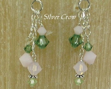 Swarovski Pink & Green Crystal Sterling Silver Earrings