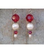 Red Swarovski Crystal Freshwater Pearl Sterling Silver Threader Earrings - $16.99