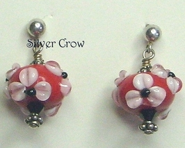 Red,White & Black Floral Lamp Work Sterling Silver Earrings - $17.99