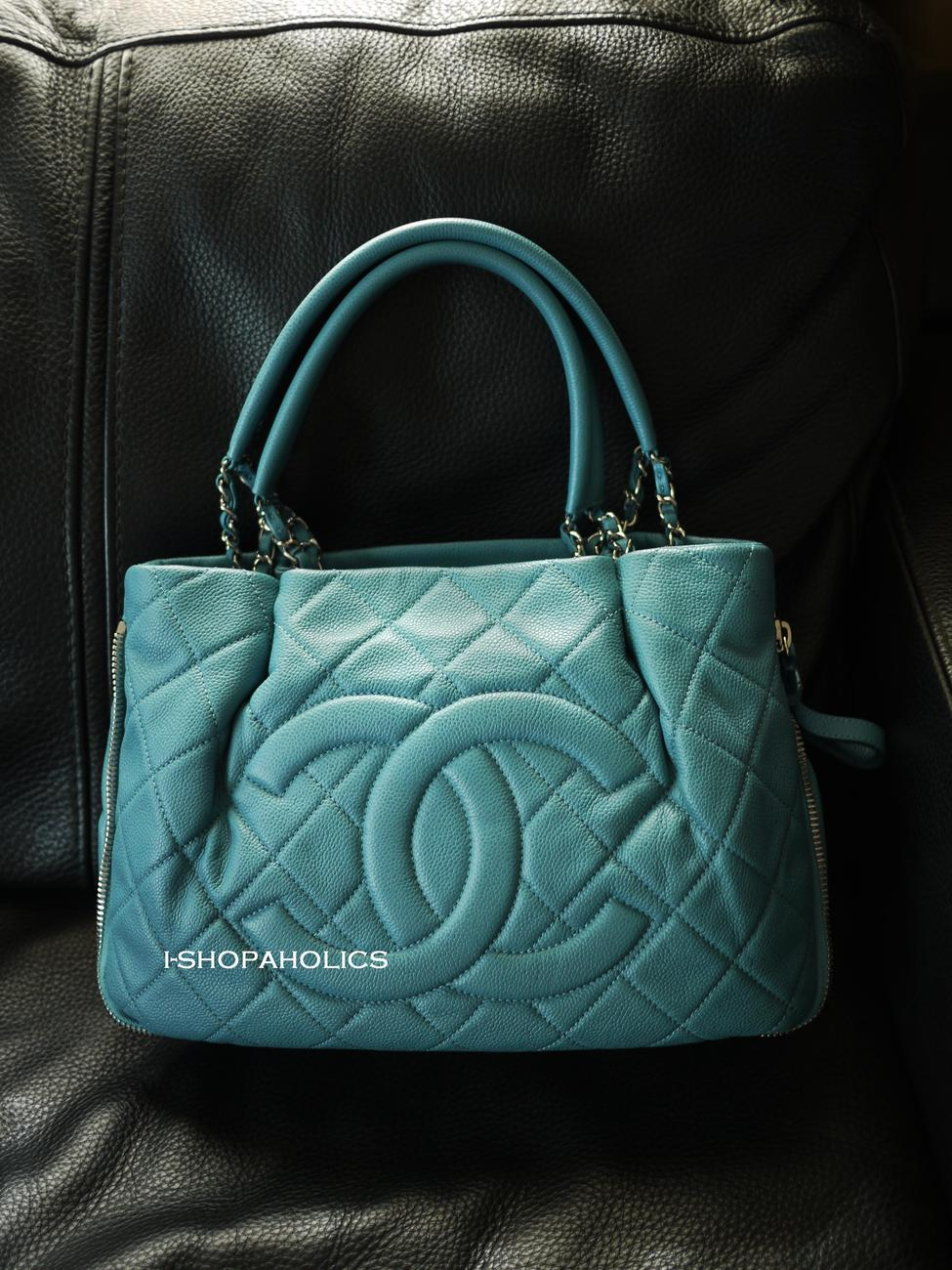 LIKE NEW CHANEL BLUE EXPANDABLE TOTE BABY BLUE JEAN 11P SHOULDER BAG
