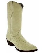 Real Ostrich Boots Mens Full Quill Leather J toe Off White Western Wedding - $249.99